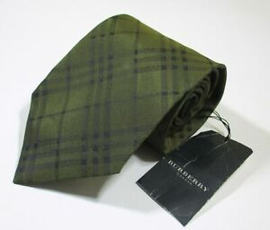 NWT Burberry London Plaid Checks Pattern Beige Color Woven Silk Necktie Tie