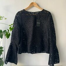 COUNTRY ROAD - SZ 8,12 lace bell sleeve top black XS,M [CR LOVE]
