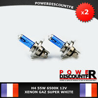 Kit DE 2 Ampoule Lampe Halogene Feu Phare XENON GAZ SUPER WHITE H4 55W 6500K 12V
