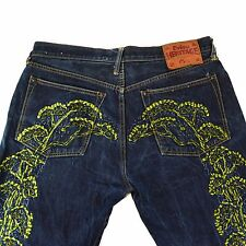 Evisu Heritage Japanese Denim Jeans Dark Embroidered Tree 36