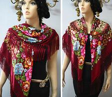 """Russian Ukrainian Gypsy Shawl Floral w/Fringes 49""""/125cm Woolen NWT #98h Bordo"""