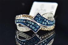 Brown Blue & White Diamond Wedding Anniversary Band Round Cut 10K White Gold