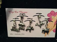 Clip on Charms - x5 Dogs (Dachshund, Snoopy, Bulldog, Scotts Dog, Love My Dog)