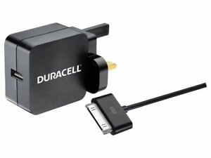Duracell 2.4A Wall Charger-30 Pin USB Cable power adapter/inverter BUN0051A