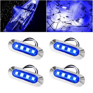 4x Marine Boat LED Courtesy Lights Cabin Deck Walkway Stair Light Blue 12V -24V