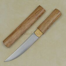 Ryujin Damascus Steel Hand Made Samurai Tanto Sword Knife Sharp Blade Wood Saya