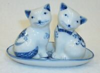 Blue & White Tabby Cats in Tray 3 Piece Salt and Pepper Shaker Set