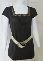 Long Tunic Black Top Size S Embellished Square Neckline Cap Sleeves Belt Loops