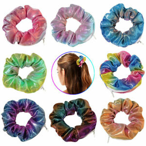 Womens Hair Ring Scrunchies Laser Cloth Gradient Color Pocket Scrunchie With Zip