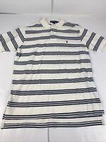 Polo RALPH LAUREN White Black Striped Polo Shirt Mens Large