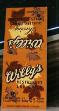 Vintage Matchbook Cover Z4 New York City Williams St Willy's Restaurant Grill