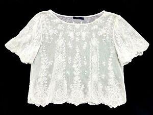 Polo Ralph Lauren White Lace Shirt Size S Womens Top
