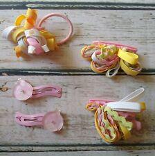 VTG Gymboree Sunflower Fields ladybug hair clips pink yellow curlies & ponytail