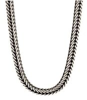 "Fred Bennett 22"" Polished Sterling Silver Men's Oxidised Fox Tail Link Necklace"