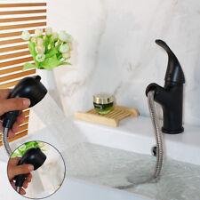 Black Bathroom Waterfall  Basin Sink Mixer Faucet + Handheld Spout 1 Handle Taps