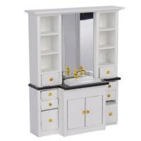 1/12 Dollhouse Mini Basin Cabinet Miniature Furniture for Bathroom Kitchen Decor