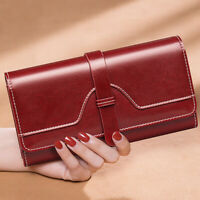 100% Genuine Leather Women's Trifold Wallet ID Card Holder Zipper Coin Purse