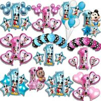 Disney Mickey Minnie Mouse First 1st Birthday Balloons Baby Foil Latex Large Set