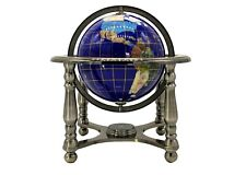 "10"" Tall Table Top Blue Lapis Ocean Gemstone World Globe with 4 leg silver Stand"
