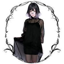 Vintage Black Chiffon Gothic Punk Japanese Lolita Loose Dress Harajuku 2PCS