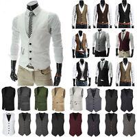 Men Formal Casual Business Dress Vest Suit Slim Tuxedo Waistcoat Jacket Coat US