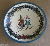 Handpainted Folk Art wooden bowl man woman goose winter scene holiday vintage