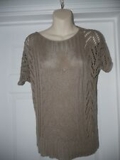 Brown Chunky Knit Topshop Jumper Size 8 Sheer Top