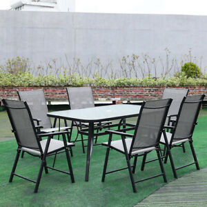 Table & Chairs Set Patio Outdoor Metal Dining Garden Glass Parasol Table w/Chair