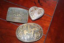 western belt buckles lot of 3 vintage HESSTON National Rodeo,El Arturo, W USA