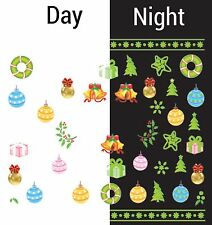 Nail Art Water Decals Glow in the Dark Christmas Tree Ornament Bells GID039