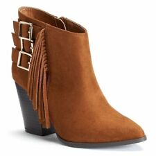 Women Jennifer Lopez Faux Suede Fringe Ankle Boot Chunky Heel BROWN sz 9