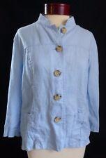 Cherokee Blue Button Up Top Jacket Size Large Women's 100% Linen