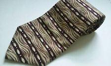 NWOT Stanley Blacker Neck Tie Dark Red Beige Green Striped Art Deco 100% Silk
