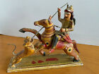 Antique King on horse & Tiger Figurine Original hand painted