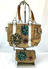 Coach Bumble Bee and Flowers Tote Bag L053-9447 Purse With Small Matching Purse