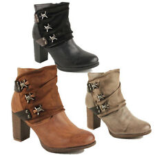 WOMENS CASUAL BLOCK HEEL SLOUCH BUCKLE MILITARY BIKER ANKLE BOOTS SHOES SIZE 3-8