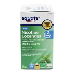 Mini Nicotine Lozenges Stop Smoking Aid Mint 2mg 108 Lozenges Exp 12/22 Equate