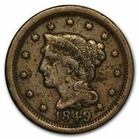 1849 Braided Hair Large Cent 1¢ Fine