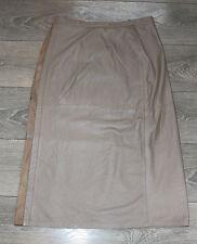 "Vintage Beige Leather Stretch Waist Pencil Calf Length Skirt Size W31"" L30"""