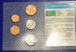 Turkmenistan 1 - 50 tennesi 1993 XF UNC Circulation Coin Set - World Currencies