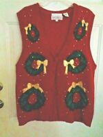 Christmas Sweater Vest Red w/ Wreaths & Bows  SZ L Westbound