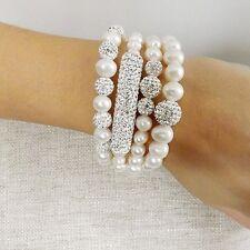 Pulsera perlas cultivadas Swarovski Shamballa. plata 1ª ley .925