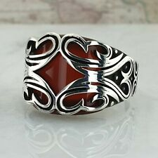 HandMade Solid 925 Sterling Silver Mens Red Agate Gemstone Ring Anatolian Style