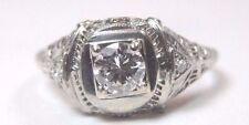 Antique Art Deco Diamond Engagement Ring 14K White Gold Ring Size 8.5 UK-Q1/2