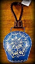 """Nwt 11"""" Tall """"Boho Garden"""" Metal Bell, Leather Handle, Floral Pattern on Blue"""