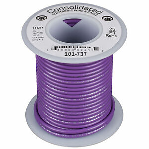Consolidated Stranded 16 AWG Hook-Up Wire 25 ft. Violet UL R