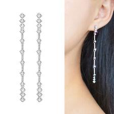 Long 925 Sterling Silver Fancy Paved CZ Drop Dangle Party Bridal Post Earrings