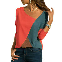 Women Loose Long Sleeve T Shirt Patchwork Tops Basic Tee Blouse Sweater Pullover