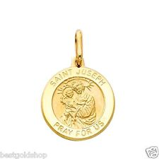 3D 21mm Saint St Joseph Medal Charm Pendant Solid Real 14K Yellow Gold 3.5gr