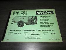 Holder Betriebsanleitung ET Liste Zapfwellen Anhänger Spritze Z10 TU7 Z15 TU8!!